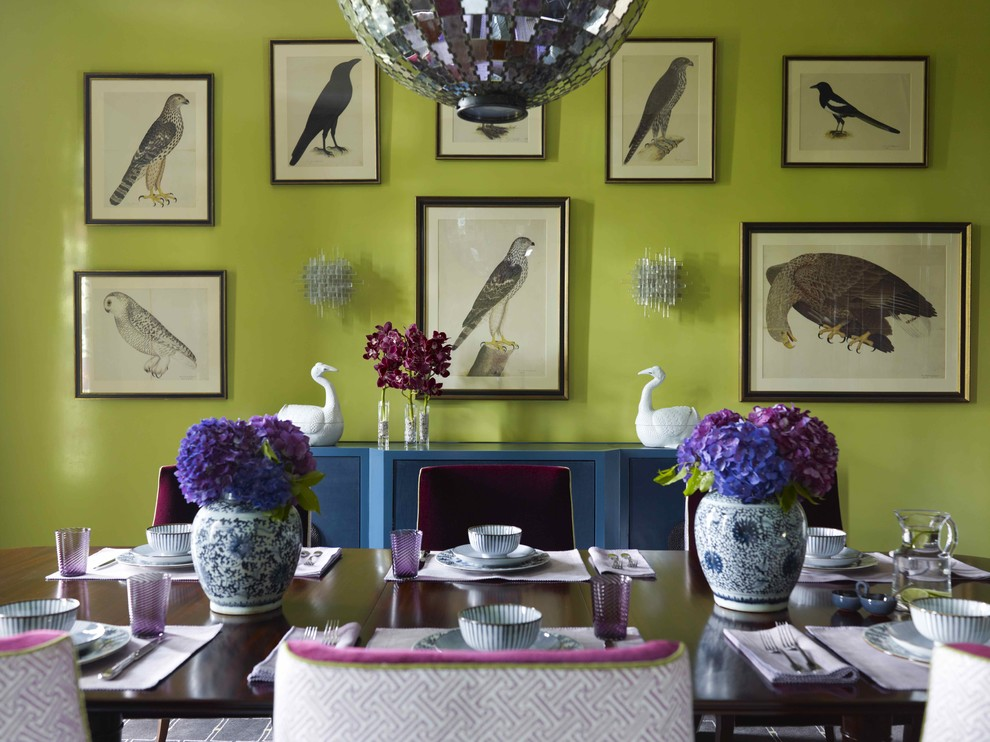 Dining room - contemporary dining room idea in New York with green walls