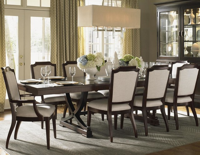 Kensington Place Eleven Piece Dining Set With Chairs Upholstered In Odessa Fabri