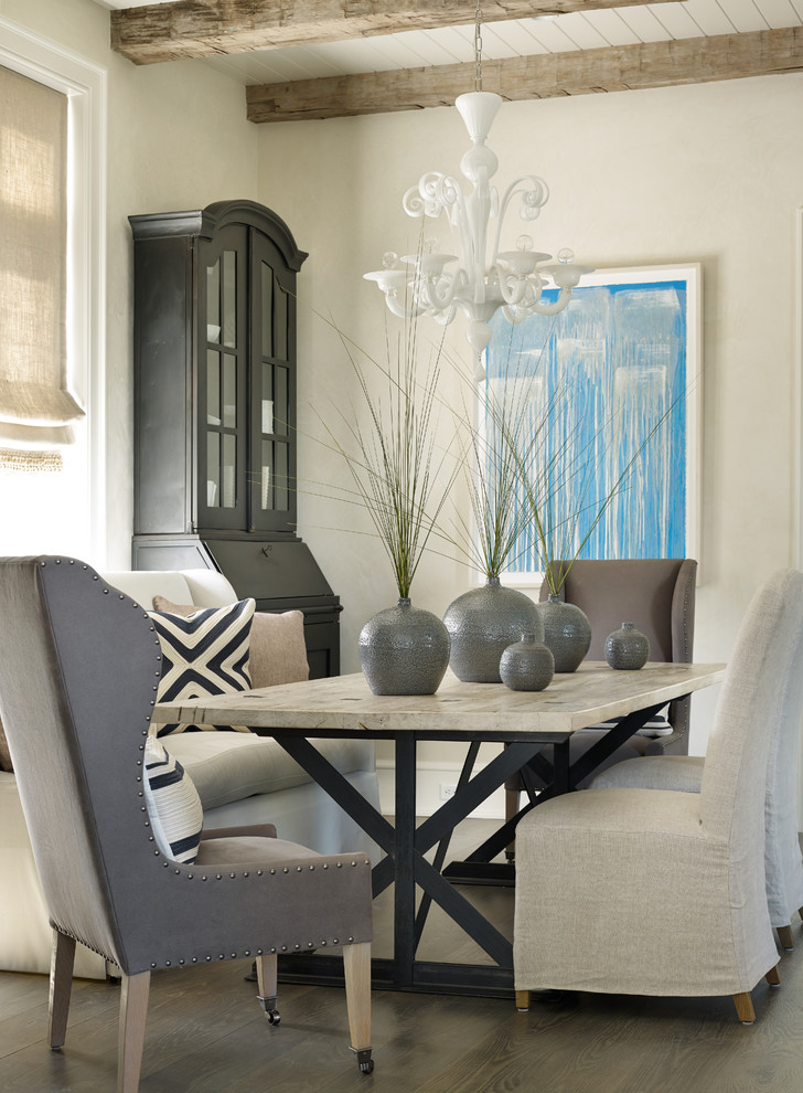 Inspiration for a beach style dining room remodel in Atlanta with beige walls