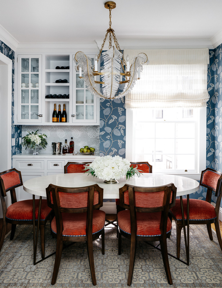 Elegant enclosed dining room photo in San Francisco with multicolored walls and no fireplace