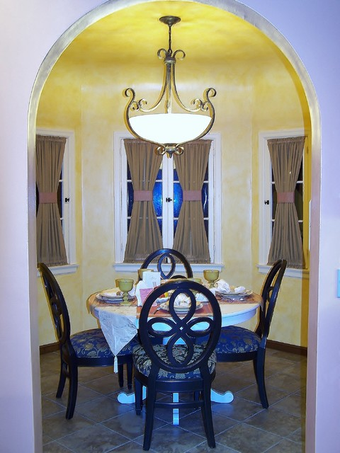 Kitchen and Breakfast Nook near Hancock Park in Los Angeles mediterranean-dining-room