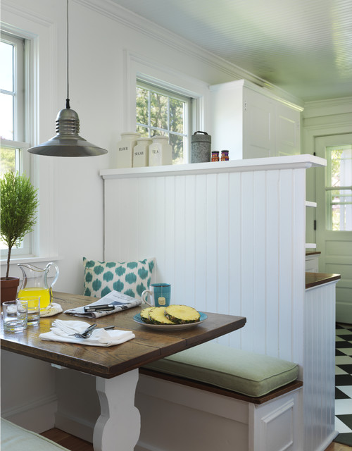 breakfast nook with patterned throw pillow