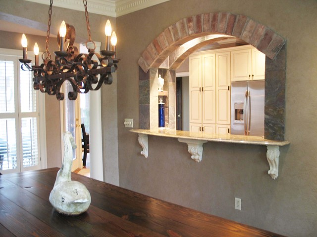 Traditional Dining Room New Orleans, Dining Room To Kitchen Pass Through