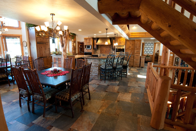 Kitchen Slate Tile Flooring Craftsman Dining Room
