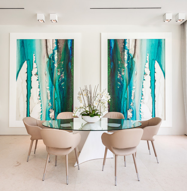 Example of a trendy beige floor dining room design in Miami with white walls