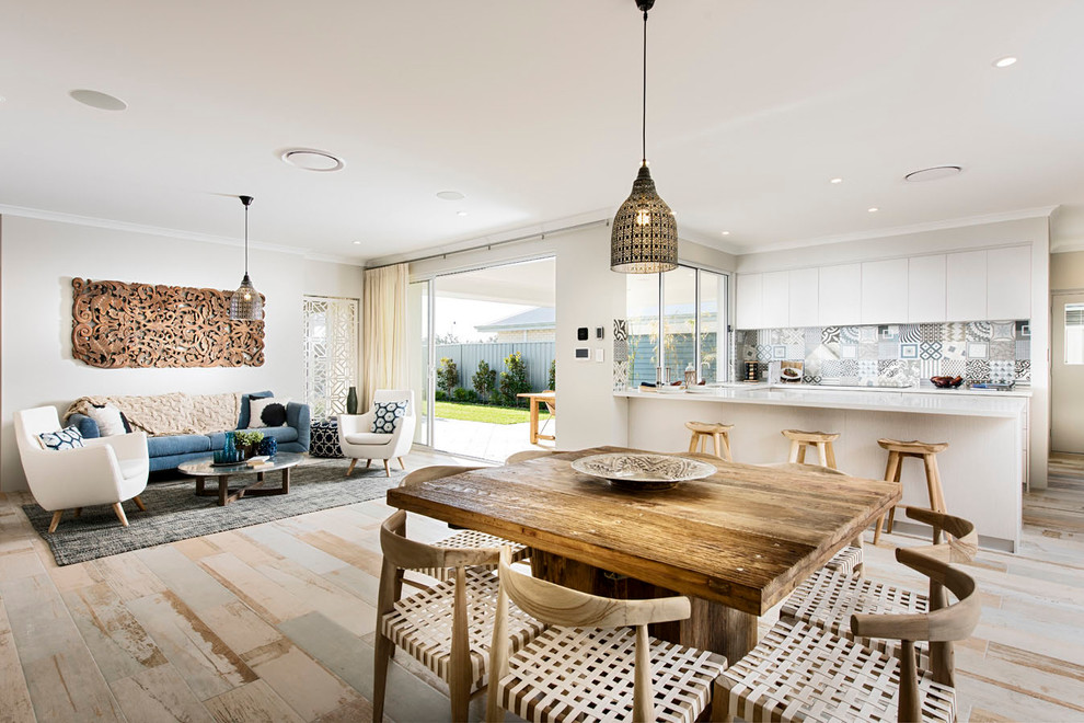 Mid-sized danish light wood floor great room photo in Perth with white walls