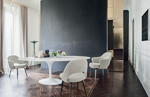Knoll Saarinen Tulip Dining Table White Base Marble Top Modern London By NW3 Interiors Ltd