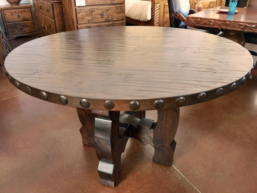 Knotty Alder Wood Round Dining Table - Southwestern ...