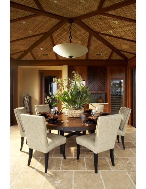 Frugal with a flourish toes in the water for Tropical dining room ideas