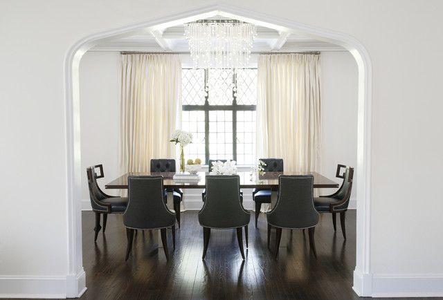 Contemporary Dining Room In New York With White Walls And Dark Hardwood Flooring