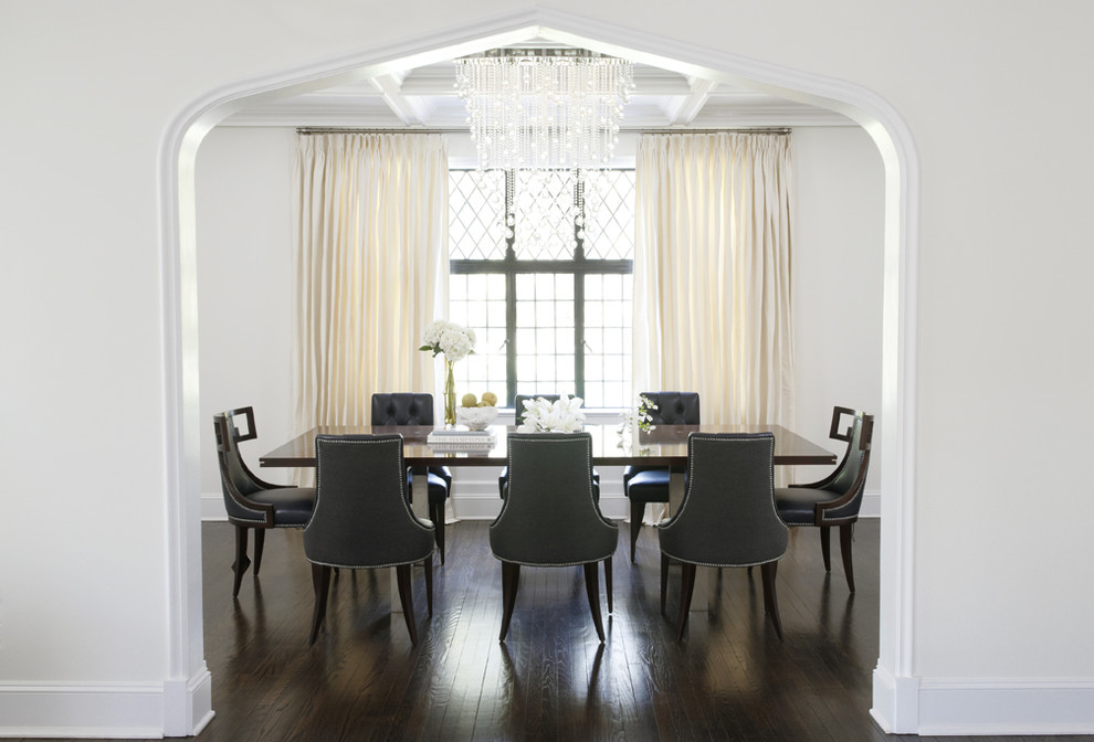 Inspiration for a contemporary dark wood floor dining room remodel in New York with white walls
