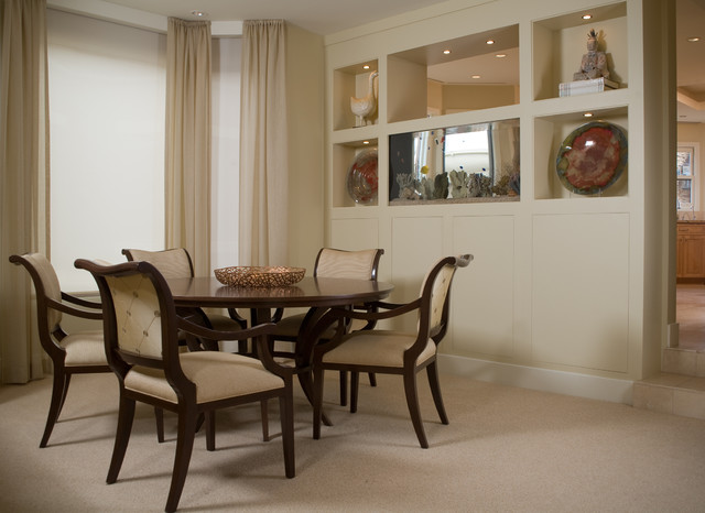 Charming Mid Sized Trendy Carpeted Enclosed Dining Room Photo In San Diego With  Beige Walls