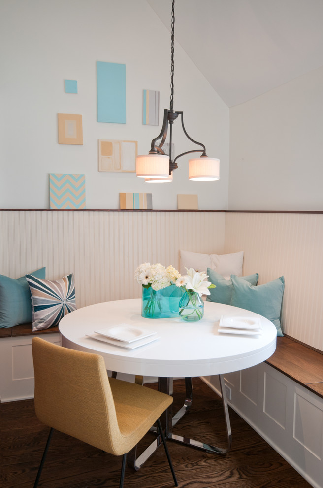 Dining room - transitional dark wood floor dining room idea in San Diego with white walls