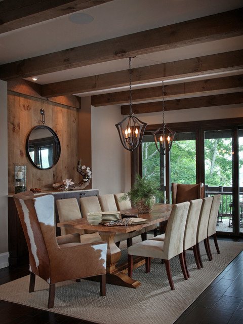 Lake bluff lodge completed rustic dining room for Rustic dining room