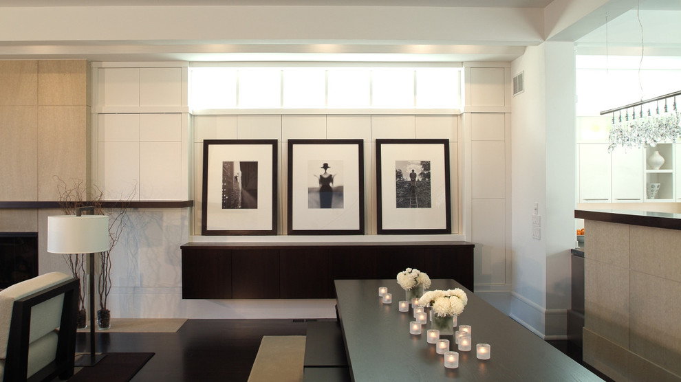 Great room - contemporary great room idea in Minneapolis with white walls