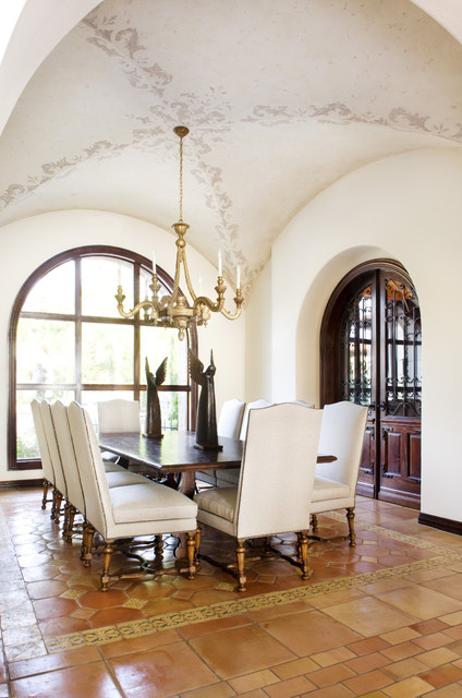 Lake Conroe Spanish mediterranean dining room