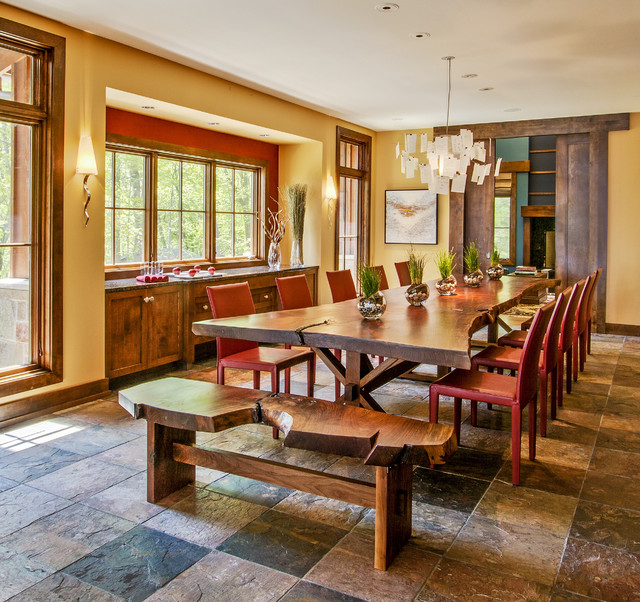 Lake michigan home rustic dining room milwaukee by for Dining room tables milwaukee