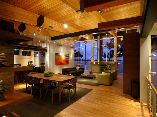 Inspiration for a contemporary dining room remodel in Other