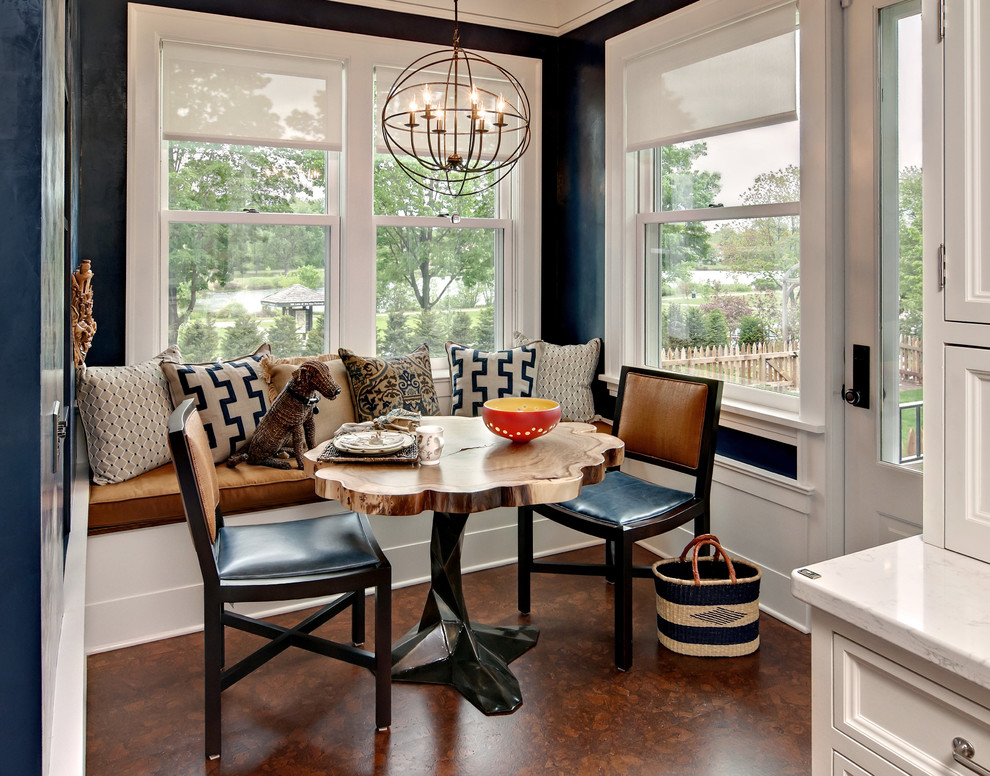 Dining room - mid-sized transitional cork floor dining room idea in Minneapolis with blue walls