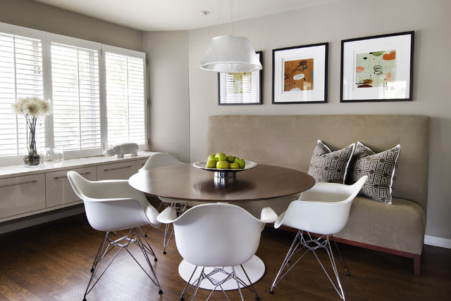 Inspiration For A Modern Dark Wood Floor Dining Room Remodel In Detroit With Gray Walls