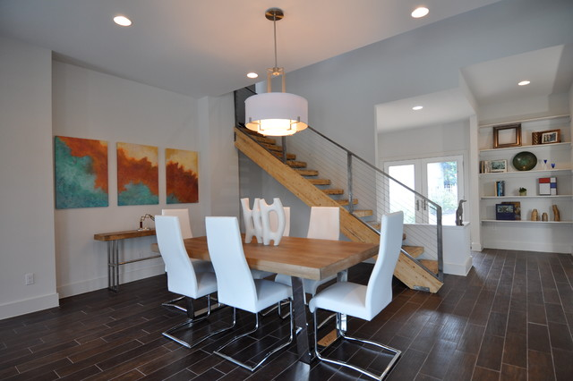 Inspiration For A Large Contemporary Dining Room Remodel In Austin With  White Walls
