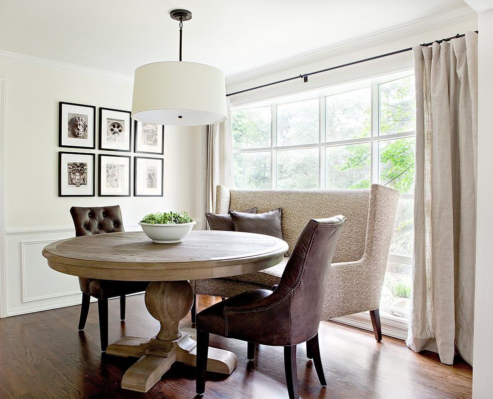Elegant dark wood floor dining room photo in Seattle with white walls