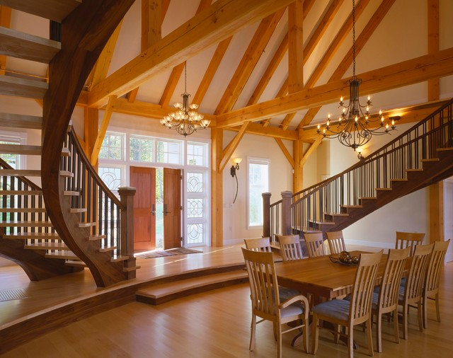Lakeside luxury timber frame contemporary dining room for Luxury timber frame house plans