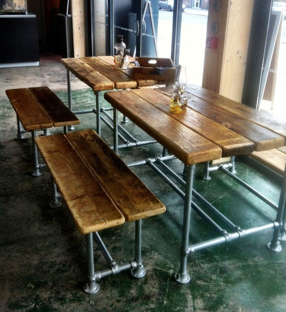 Superb Large Reclaimed Scaffold Dining Table And Benches Pabps2019 Chair Design Images Pabps2019Com
