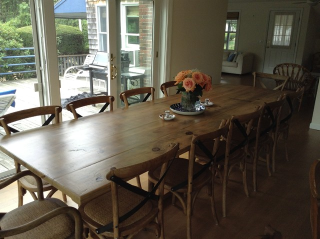 large reclaimed wood table farmhouse dining room