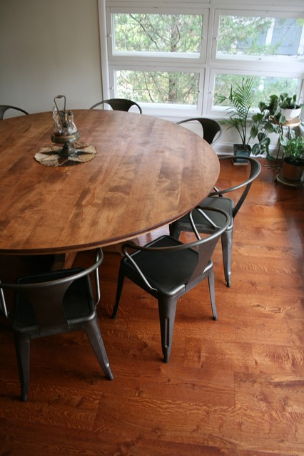 Large Round Dining Table Rustic Dining Room Chicago By Schaver Woodshop
