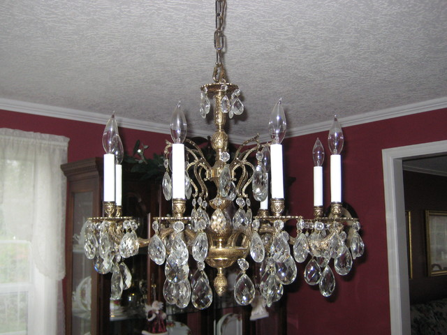 large vintage brass and crystal chandelier traditional dining room