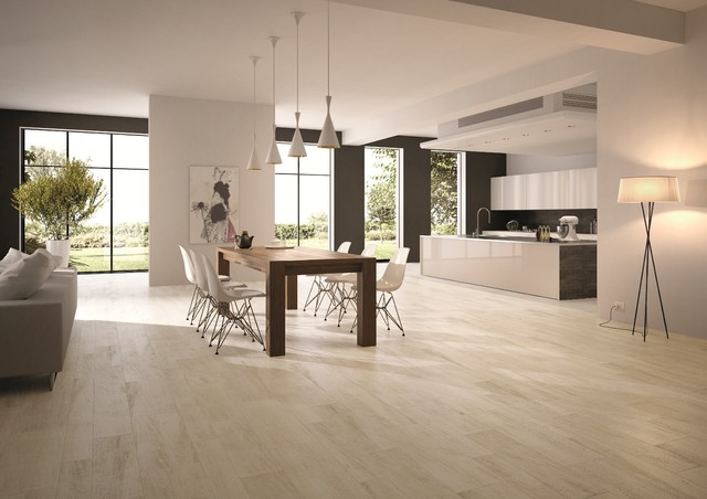 Larice bianco for Dining room tile floor designs