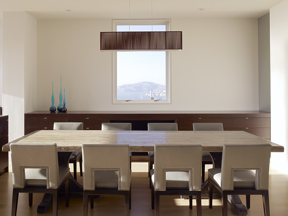 Example of a minimalist dining room design in San Francisco with white walls