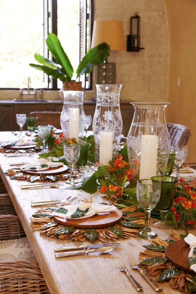 Tuscan dining room photo in Other