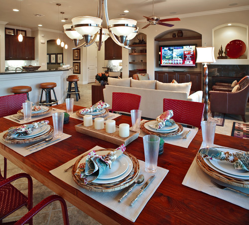 contemporary dining room by brentwood interior designer ab home interiors for a table setting - Dining Room Table Settings