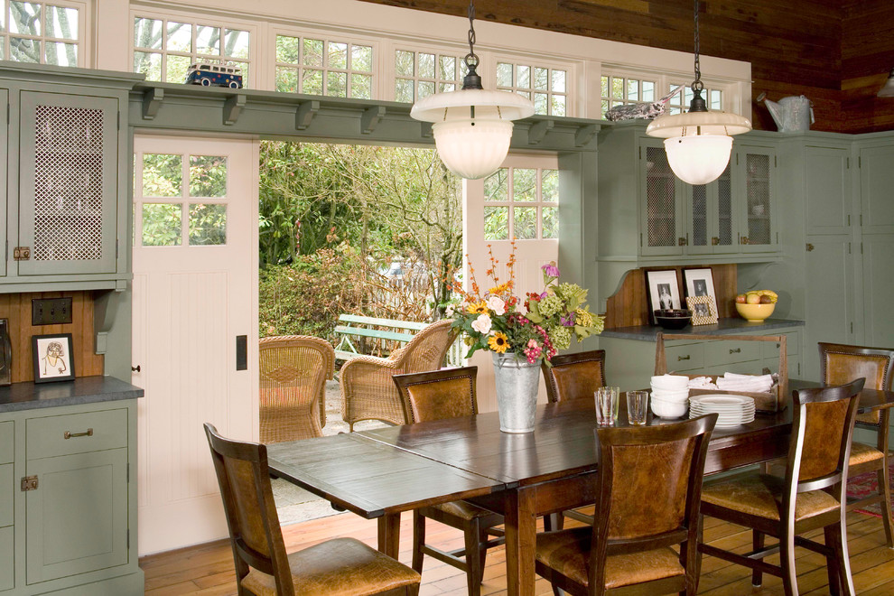Inspiration for a timeless medium tone wood floor dining room remodel in Seattle