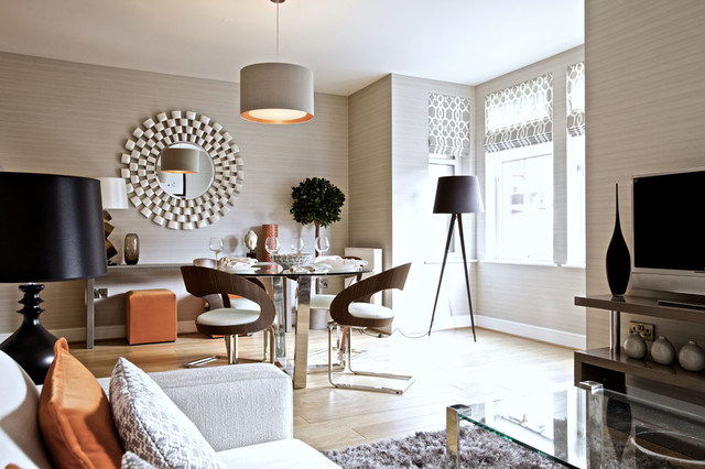 Layering textures is key to opulance contemporary dining room