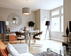 Layering textures is key to opulance contemporary-dining-room