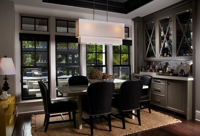 Example of a mid sized trendy dark wood floor and brown floor enclosed dining  room. Dining Room Bar   Houzz