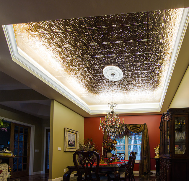 LED Ceiling Cove Lighting Eclectic Dining Room