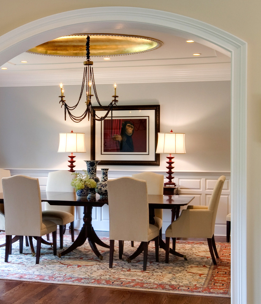 Inspiration for a huge contemporary medium tone wood floor dining room remodel in Philadelphia with gray walls and no fireplace