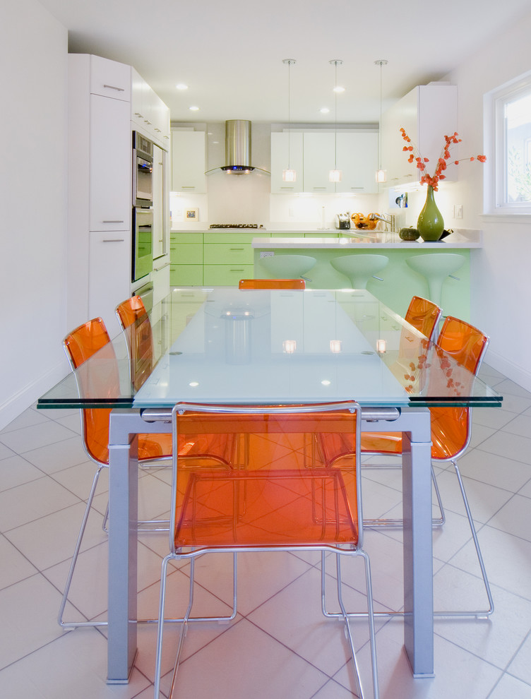 Inspiration for a mid-sized contemporary ceramic floor and white floor kitchen/dining room combo remodel in San Francisco with white walls