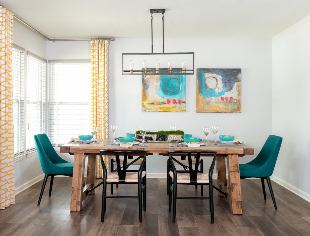 Transitional dining room photo in Houston