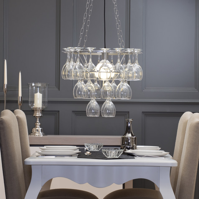 Captivating Litecraft Wine Glass Chandelier   3 Tier   Silver Contemporary Dining Room