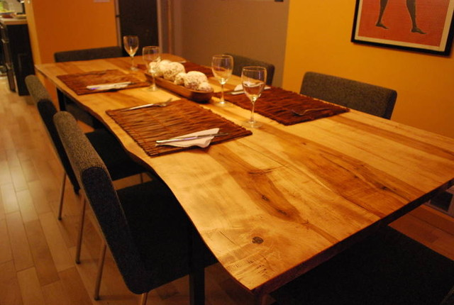 Live edge wood counter top slab counters contemporary for Live wood countertops