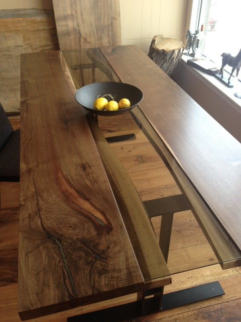 LIVE EDGE BLACK WALNUT HARVEST TABLE craftsman-dining-room