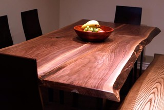 LIVE EDGE BLACK WALNUT HARVEST TABLE - Contemporary ...