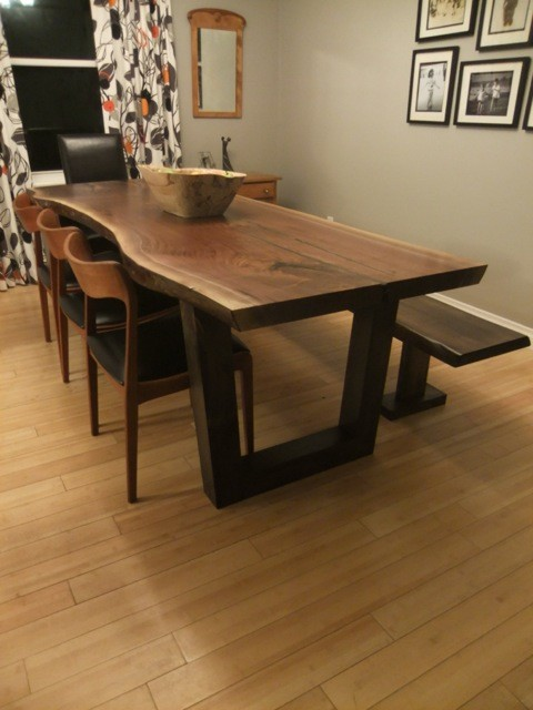 Live Edge Black Walnut Table Wood Slab High End Craftsman Dining Room