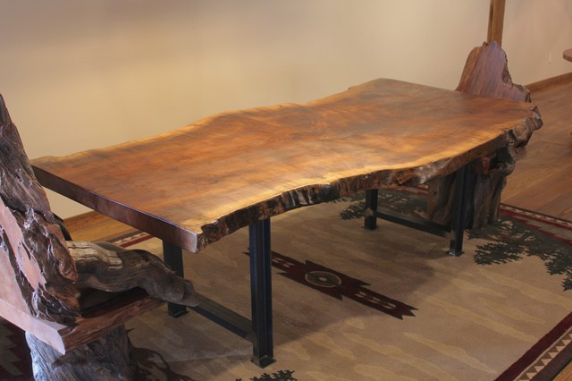 Live Edge Claro Walnut Dining Table With Metal Industrial