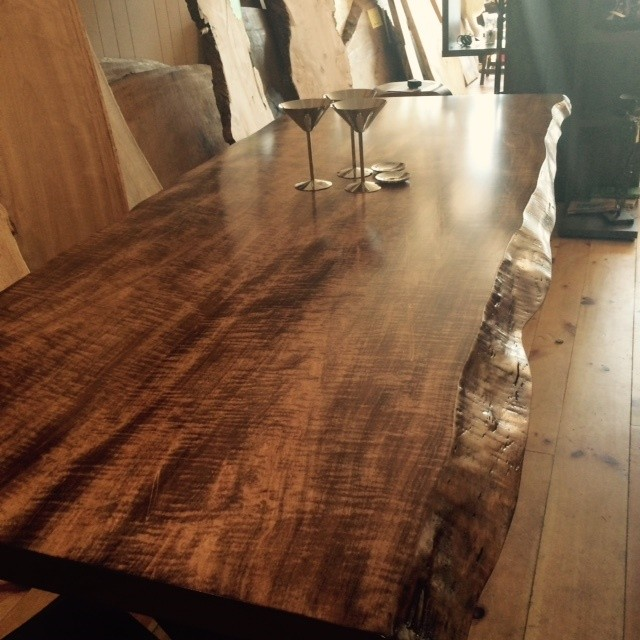 Live Edge Coffee Table Toronto: LIVE EDGE CURLY MAPLE HARVEST TABLE